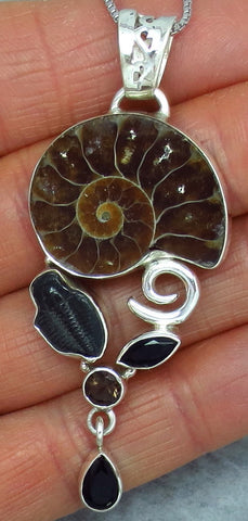 Ammonite & Trilobite Pendant Necklace - Sterling Silver - Black Onyx and Smoky Quartz Accents - Fossil - Seashell - Sealife -- p213005