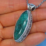 10.1ct Natural Emerald Pendant Necklace Sterling Silver - Large - Genuine - Raw - India - Marquise - Victorian Filigree Design - Bali Boho e162279