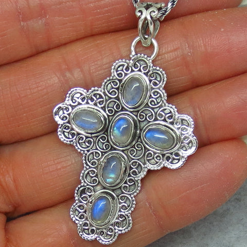 Blue Rainbow Moonstone Cross Pendant Necklace - Sterling Silver - Victorian Filigree Design - p151979