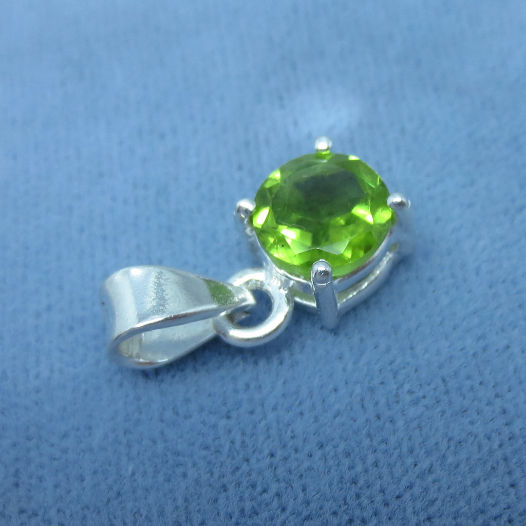 7mm Genuine Peridot Necklace - Sterling Silver - Round Cut