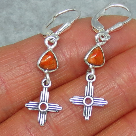 Tiny Genuine Coral Zia Leverback Earrings - Sterling Silver - Italian Coral Trillion - Sun - Cross - Taos - Small - Dainty - 160704