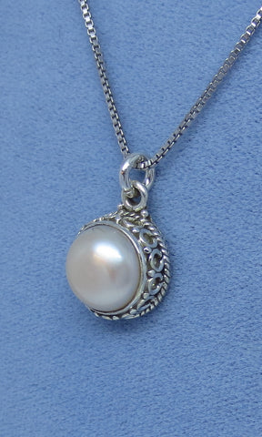 White Freshwater Pearl Necklace - Sterling Silver - Victorian Filigree Design - SU170710