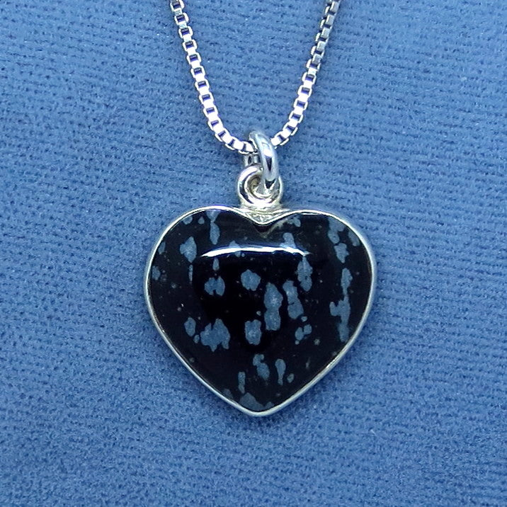 Small Snowflake Obsidian Heart Necklace - Sterling Silver - 150753
