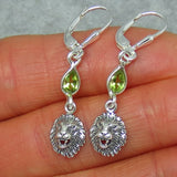 "Genuine Peridot Leo Lion Earrings - Leverback - Sterling Silver - Dainty Long Dangles - 1-1/2"" - Pear Shape - August Birthstone -- 161133"
