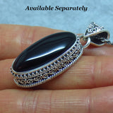 Genuine Black Onyx Necklace - Sterling Silver - Pear Shape - Victorian Filigree Design - Bali Design - p171660