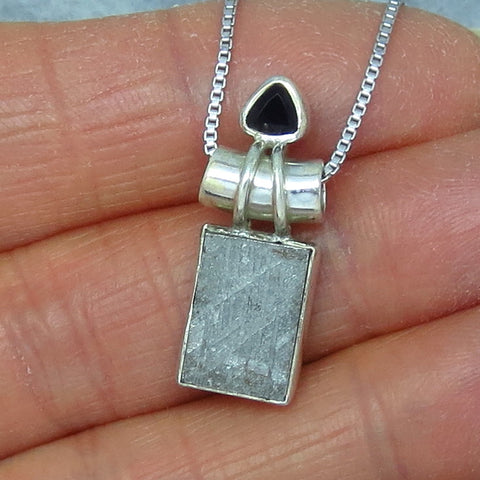 Muonionalusta Meteorite Pendant Necklace - Sterling Silver - Sweden - Iron Meteorite - Black Onyx Accent - p151526