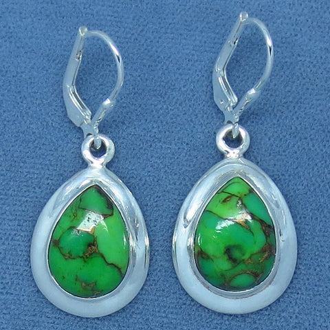 Mojave Green Turquoise Earrings - Leverback - Sterling Silver - Pear Shape - Simple - su361428