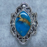 Size 7 Mojave Blue Copper Turquoise Antique Boho Style Ring Sterling Silver - P8642