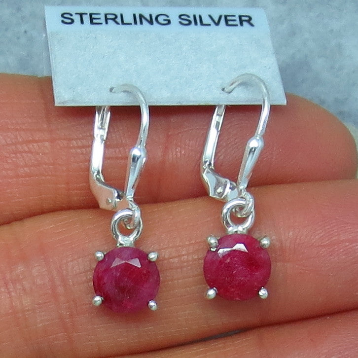 7mm Genuine Ruby Earrings - Leverback - Sterling Silver - Raw Ruby - India Ruby - 211350r
