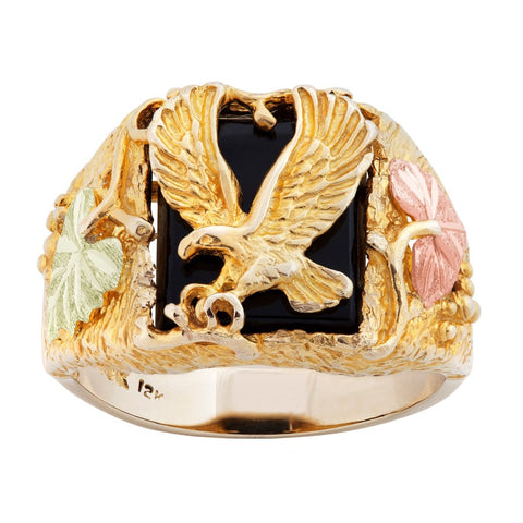 Size 8 - 14.5  Landstrom's Black Hills Gold Wild Eagle Onyx Men's Ring - 10K and 12K Solid Gold - Made To Order - G LMR481