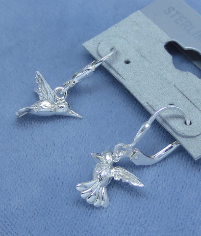 Sterling Silver 3-D Hummingbird Earrings - Leverback - Dainty - Hand Made -- 171258