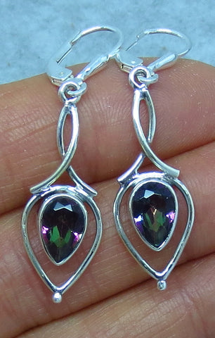 Mystic Topaz Earrings - Rainbow Topaz Earrings - Sterling Silver - Leverback - Filigree - Pear Shape - Goddess Shape -- su151407
