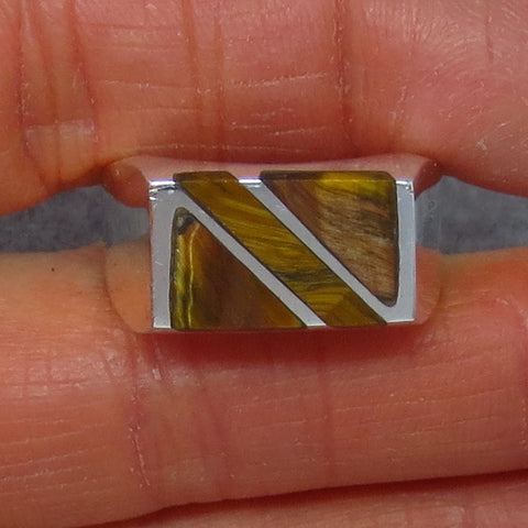 Size 9.75 Mens Tiger Eye Ring - Sterling Silver - Inlay - Taxco - Handmade - 263310BG