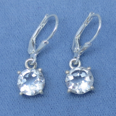 8mm Round Genuine White Topaz Earrings - Sterling Silver - Leverback - 171608