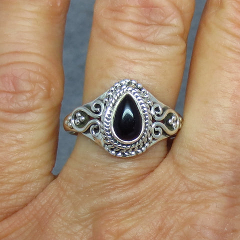 Size 9.5 Natural Black Onyx Ring - Sterling Silver - 8 x 5mm Pear - Vintage Victorian Antique Filigree Design - 181349