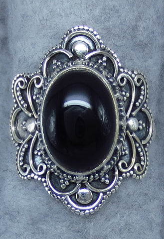 Size 9.5 Black Onyx Ring - Victorian Antique Style - Sterling Silver - R191510
