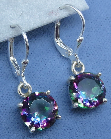 9mm Mystic Topaz Simple Leverback Earrings - Round - Sterling Silver - Rainbow Topaz - Hand Made -- 211410