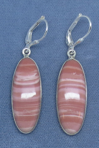 Genuine Natural Australian Pink Opal Earrings - Sterling Silver - Leverback - Long Oval - Pair C - Hand Made - 171624