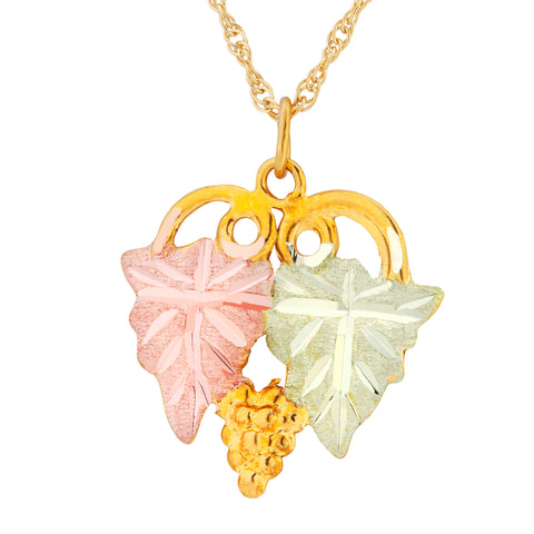 Black hills gold posh silver jewelry landstroms black hills gold leaf and grapes pendant necklace 10k yellow and 12k rose pink aloadofball Gallery