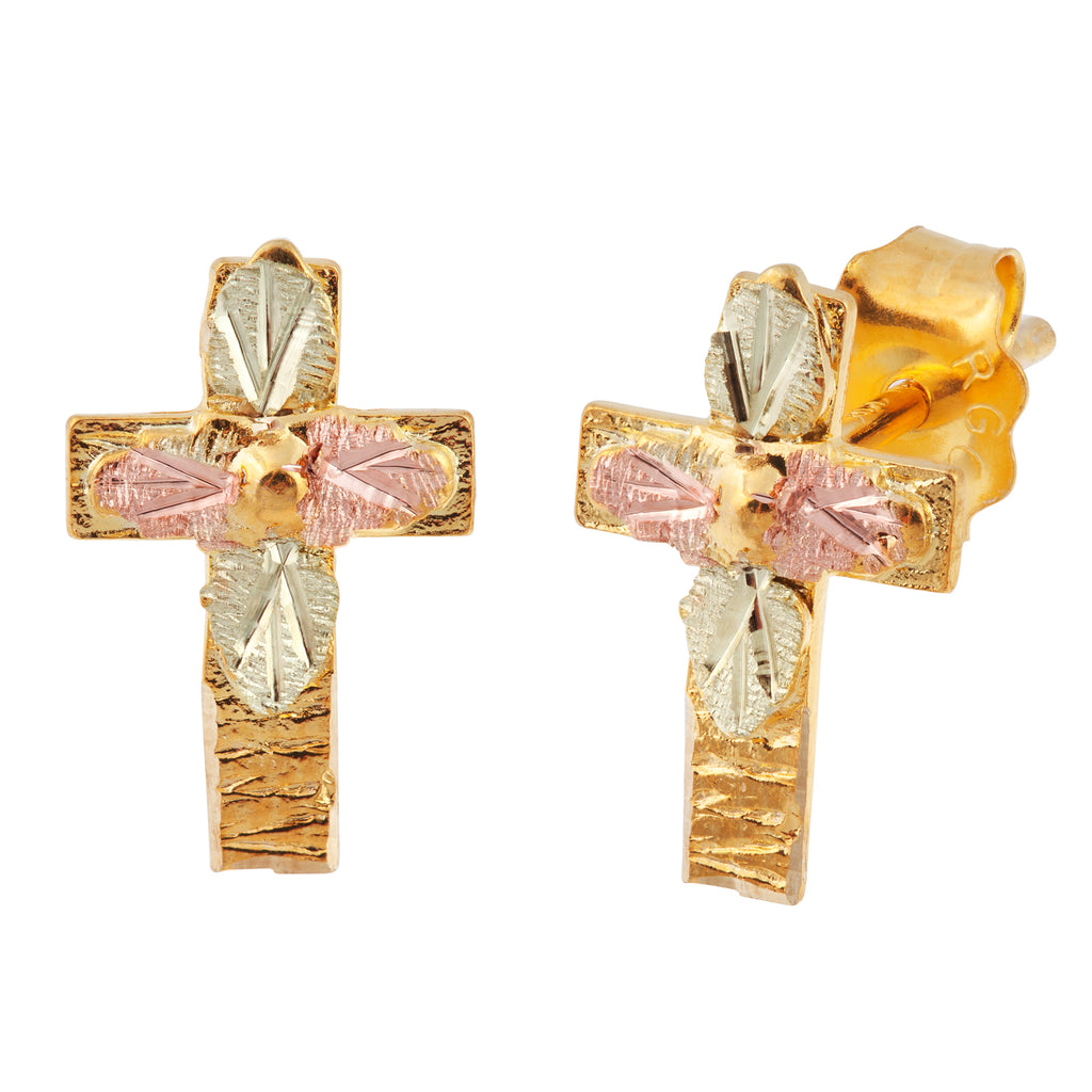 Landstrom's Black Hills Gold Cross Earrings - Posts - Studs - 12K Leaves, 10K frames, 14K Posts & Backs - Handmade - GLA118P