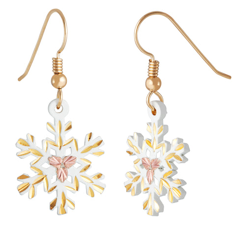 Landstrom's Black Hills Gold Snowflake Earrings - 10K Yellow, 12K Rose Pink Gold - 14K Wires - Dangles - Handmade - GLER972