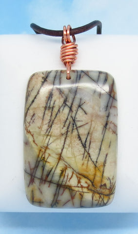 "24.9g - 2 1/2"" Men's Picasso Jasper Pendant Necklace - Genuine Leather & Solid Copper - Large Rectangle - Genuine Natural - Boho Geometric - m621"
