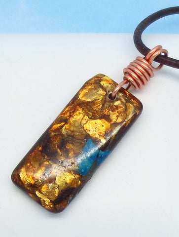 "2"" Men's Copper Bornite Bar Pendant Necklace - Genuine Leather & Solid Copper - Natural - Rectangle - Geometric - Boho - m88b"