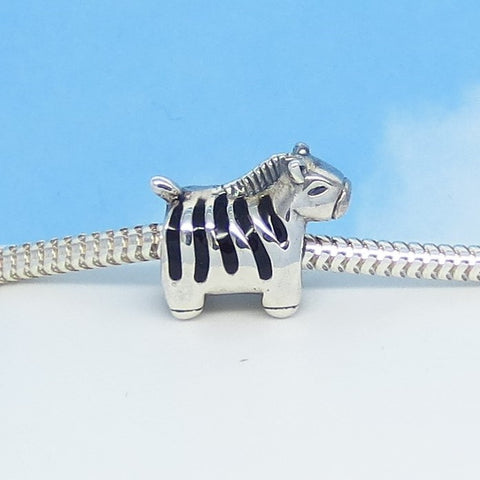 Zebra .925 Sterling Silver European Charm Bead - Fits Pandora Bracelets - Euro Charm - 4.3mm Threaded Hole