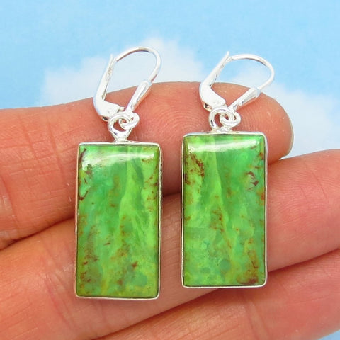 Natural Green Mojave Turquoise Earrings - 925 Sterling Silver - Leverback Dangle - Rectangle Geometric - Genuine Arizona - Lime Green 261926