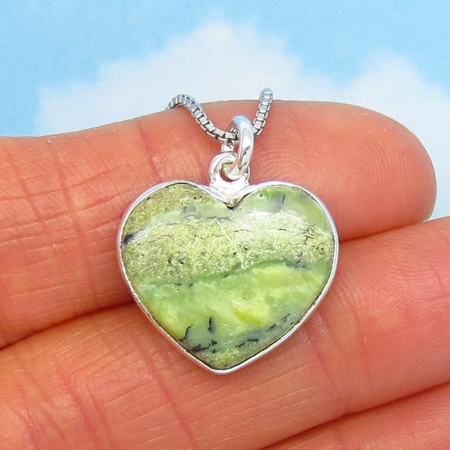 Small Natural Tanzanian Opal Heart Pendant Necklace - 925 Sterling Silver - Genuine Green Opal - Minimalist - Sage Green - Lime Green - su190802