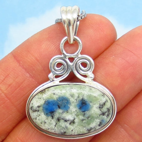 Rare K2 Azurite in Pale Green Granite Pendant Necklace - 925 Sterling Silver - Genuine - Natural - East West Horizon - Boho - 261408
