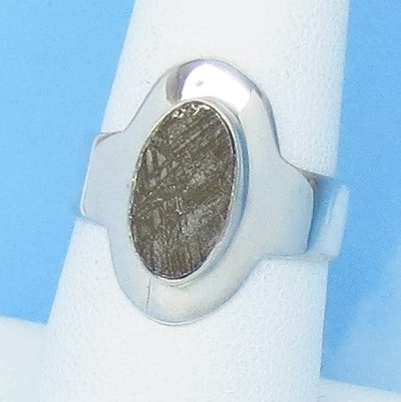 Size 7 Gibeon Meteorite Ring - Sterling Silver - Oval - Solitaire - Genuine - Natural - Celestial - Moon & Star - 211703