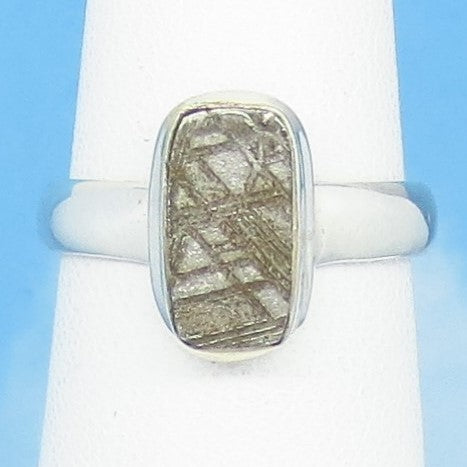 Size 6 Gibeon Meteorite Ring - Sterling Silver - Small Rectangle - Geometric - Solitaire - Genuine - Natural - Celestial Moon & Star -191806