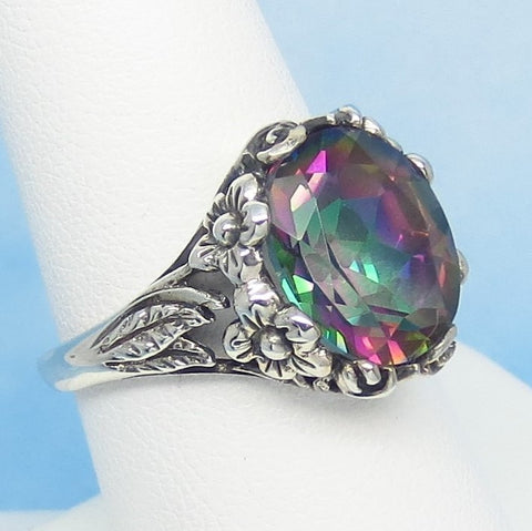 Size 4-3/4 - 3.9ct Mystic Topaz Ring - 925 Sterling Silver - Floral Victorian Filigree Reproduction - 12 x 10mm - Rainbow Topaz - Color Change - 172480