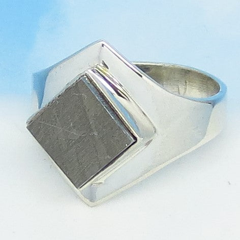 Size 9-1/2 Gibeon Meteorite Ring - Sterling Silver - Square Diamond Geometric - Solitaire - Genuine Natural - Celestial Moon & Star - 161851
