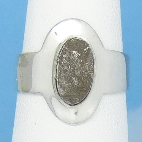 Size 6-1/2 Gibeon Meteorite Ring - Sterling Silver - Oval - Solitaire - Genuine - Natural - Celestial - Moon & Star - 211701