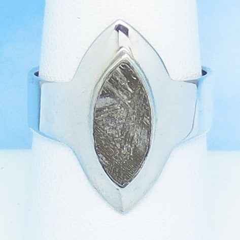 Size 7-3/4 Gibeon Meteorite Ring - Sterling Silver - Marquise - Solitaire - Genuine - Natural - Celestial - Moon & Star - 191703