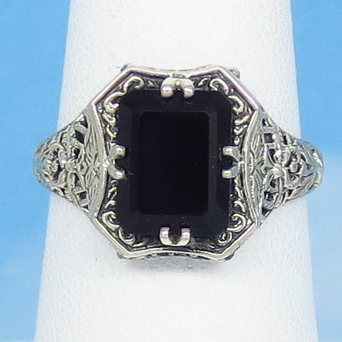 Size 6-3/4 - Natural Black Onyx Ring - Victorian Filigree - Sterling Silver - Gothic - Reproduction - Rectangle - Emerald Cut - 162837b