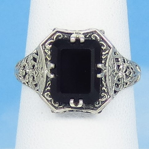 Size 8-3/4 - Natural Black Onyx Ring - Victorian Filigree - Sterling Silver - Gothic - Reproduction - Rectangle - Emerald Cut - 162837c