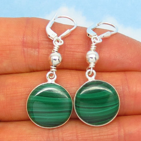 "Dainty 1-3/4"" Natural Malachite Earrings 925 Sterling Silver Round Disk Genuine Small Minimalist Boho Green Stripe Earrings 261735 bg"