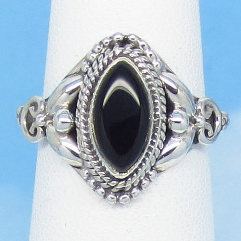 Size 8-3/4 Natural Black Onyx Ring - Sterling Silver - 10 x 5mm Marquise - Victorian Filigree Bali Design - Genuine - Boho - SA171503