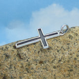 Men's Leather Cross Necklace - Rustic Sterling Silver Oxidized Cross Pendant - Genuine Leather - Men's Jewelry - su171101