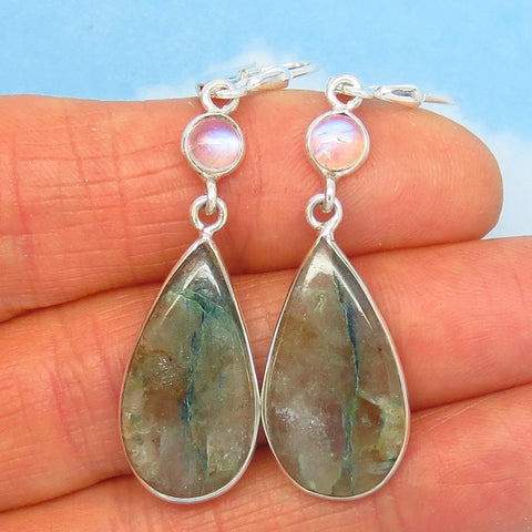 Rare Quantum Quattro Earrings - Leverback Dangle 925 Sterling Silver - Boho - Rainbow Moonstone - Pear Shape Teardrop - Smoky Quartz Matrix 281571