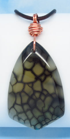 "2-1/2"" Men's Dragon Veins Agate Arrowhead Pendant Necklace - Genuine Leather Copper - Large Shield - Natural - Boho Western - Dragon Skin"