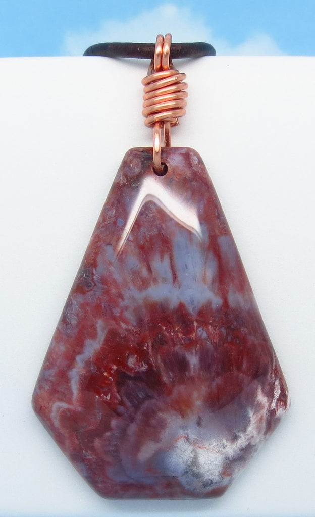 7.9g Men's Red Agate Pendant Necklace - Genuine Leather & Copper - Large - Natural - Boho Trebuchet Triangle Hexagon Geometric Shield