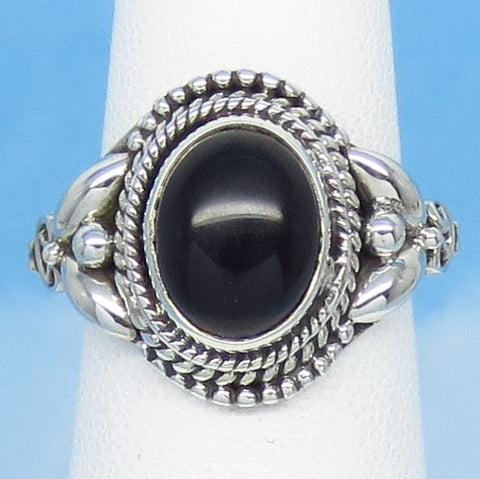 Size 6-1/2+ Natural Genuine Black Onyx Ring - Sterling Silver - 10 x 8mm Oval - New Ring: Victorian Antique Filigree Bali Design SA171638