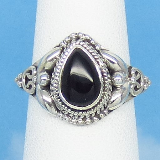 Size 9 Natural Genuine Black Onyx Ring - Sterling Silver - 9 x 6mm Pear - Victorian Filigree Bali Boho Design - Teardrop - SA171208