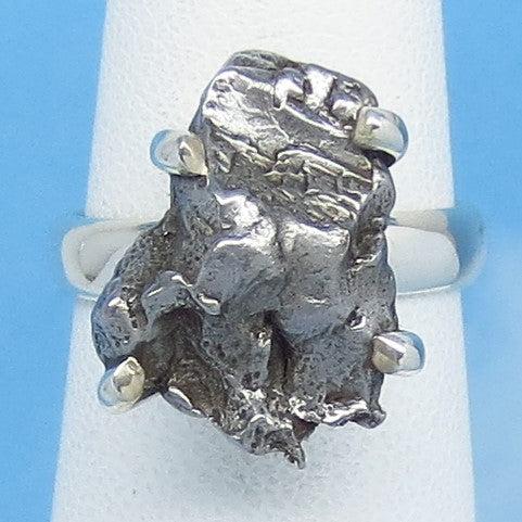 Size 6 Meteorite Ring - Campo del Cielo - Argentina - Sterling Silver - Genuine Natural Real - Celestial - Iron Meteorite - 16-01