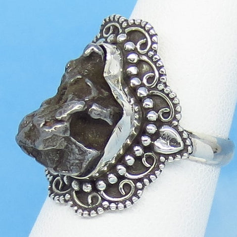 "Size 6 Meteorite Ring - Campo del Cielo - Argentina - Sterling Silver - 7/8"" Tall - 15 x 8mm Meteorite - Boho - Gothic Ring - 18-01"
