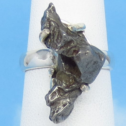 Size 6 Meteorite Ring - Campo del Cielo - Argentina - Sterling Silver - Genuine Natural Real - Celestial - Iron Meteorite - 16-03